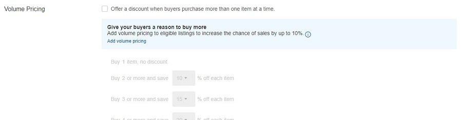Set Volume Pricing on eBay