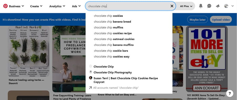 Using Pinterest Search Bar